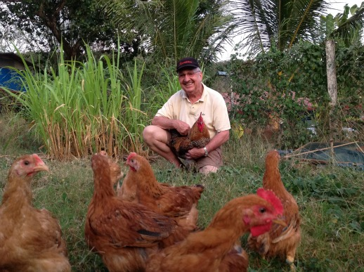 Gerard Papillon with Chickens