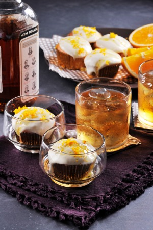 TIPSY ORANGE BOURBON CUPCAKES