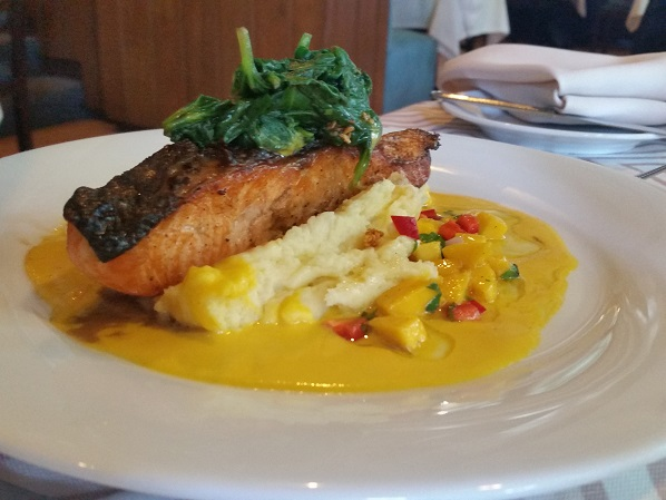 Pan Seared Salmon with Mango Salsa and Carrot Puree