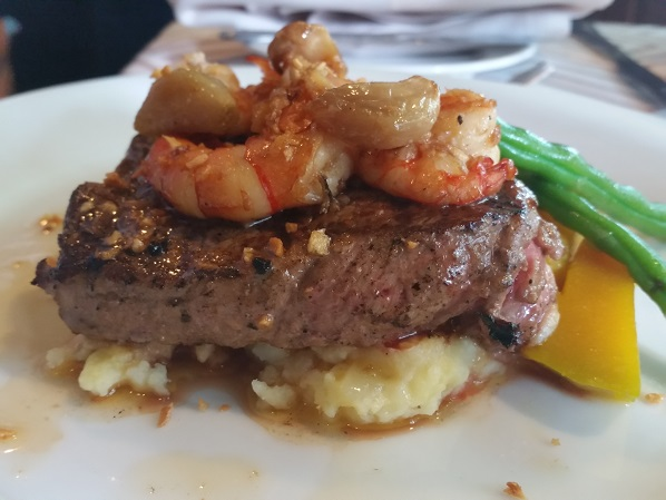 Steak and Baby Prawns