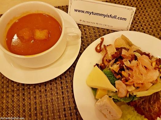 shrimp bisque and vietnamese salad