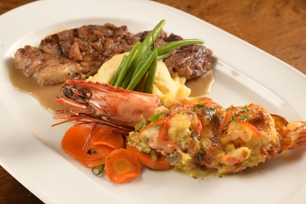 Mario's Rib Eye and Prawn Thermidor