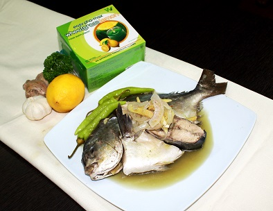 Fish Paksiw with Wheatgrass Lemon Sauce