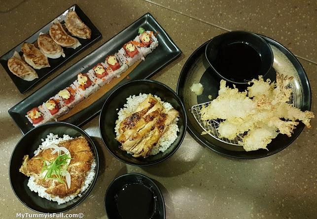 Teriyaki Boy tempura, natsu maki, chicken bown, katsudon and gyoza
