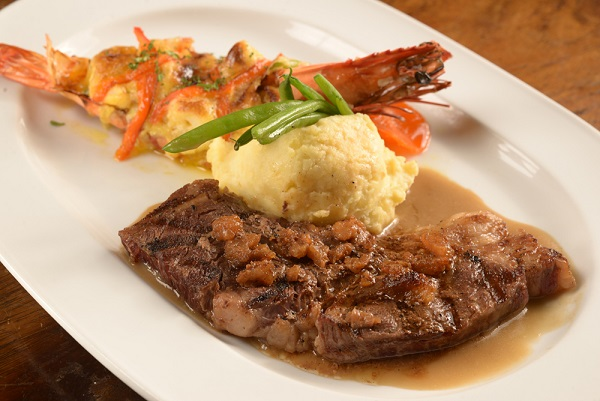 Mario's Rib Eye and Prawn Thermidor1