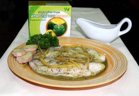 Steamed Fish with Wheatgrass Glaze