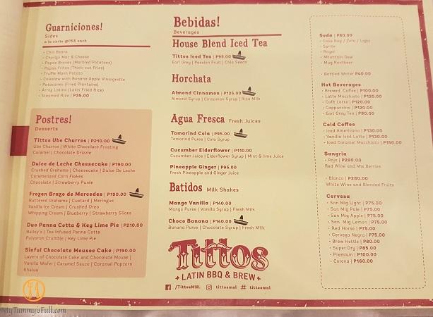 Tittos Latin BBQ and Brew Menu